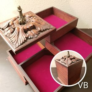 Vintage Wooden Sliding Jewelry Box.